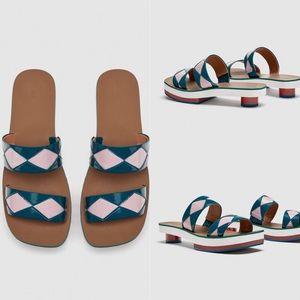 NEW Zara Leather Slides With Geometric Detail